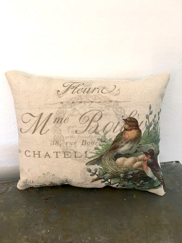 Bird with Nest Accent Pillow - BELLAVINTAGEHOME