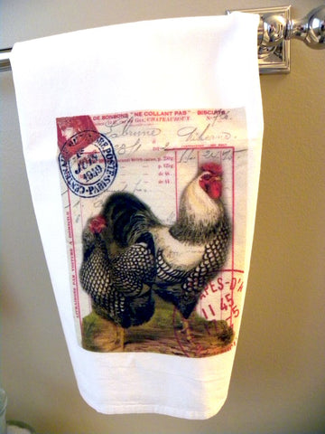 Animal  Tea  Towel  Black & White Roosters