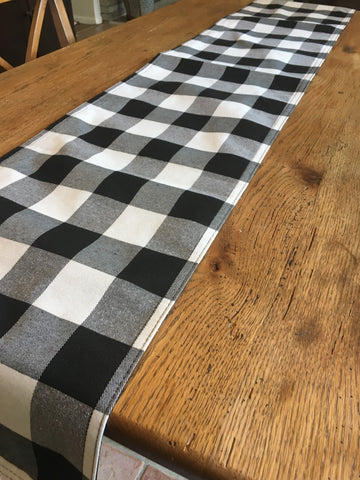 Black and White Buffalo Check  Table Runner