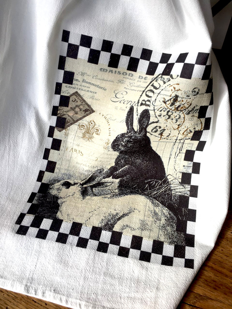 Sitting Black and White Rabbits Tea Towel - BELLAVINTAGEHOME
