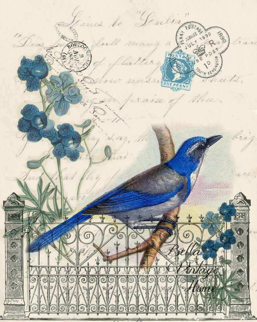 Botanical Blue Bird Print, Pillow,Note Cards, Tea Towel