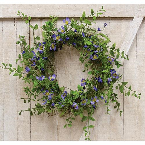 "Blue Violet Wreath 18"" - BELLAVINTAGEHOME"