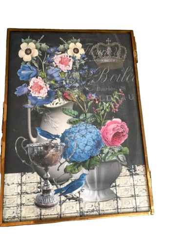 Brass and Glass Easel Frame with Print - BELLAVINTAGEHOME