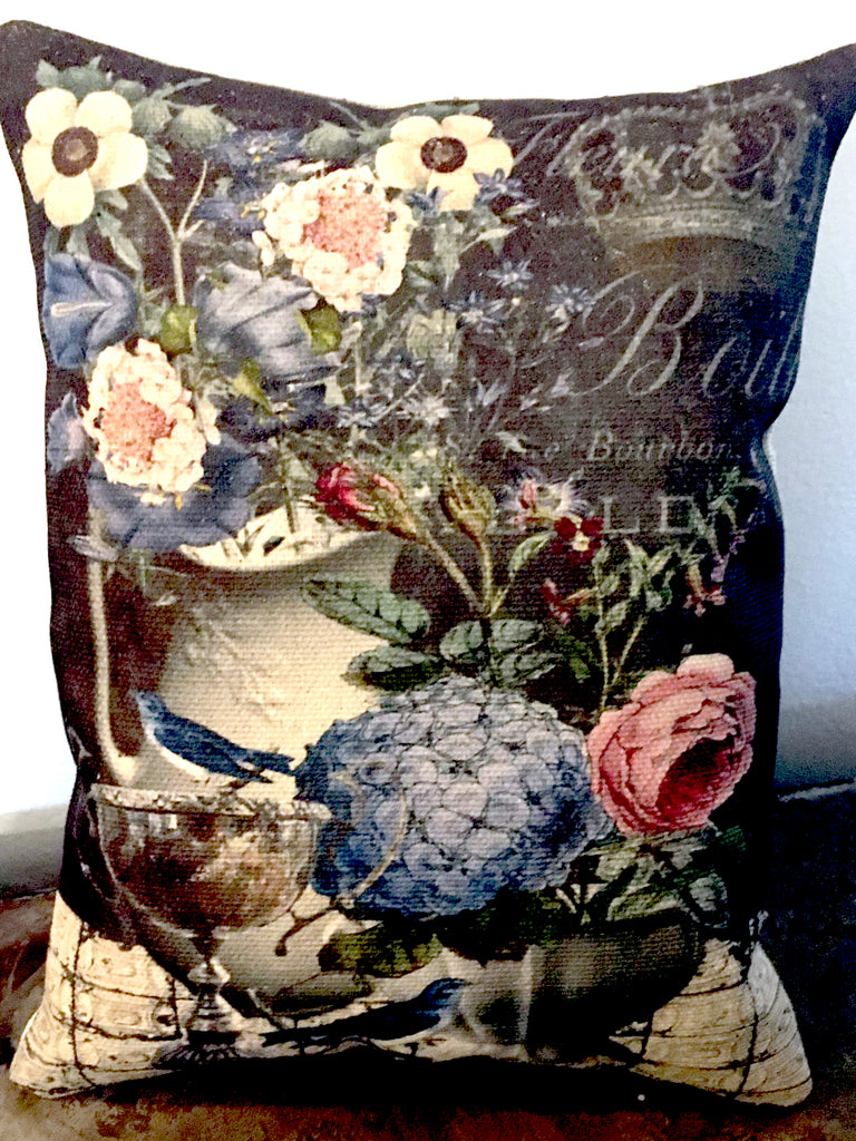 Blue Birds and Flowers Accent Pillow - BELLAVINTAGEHOME