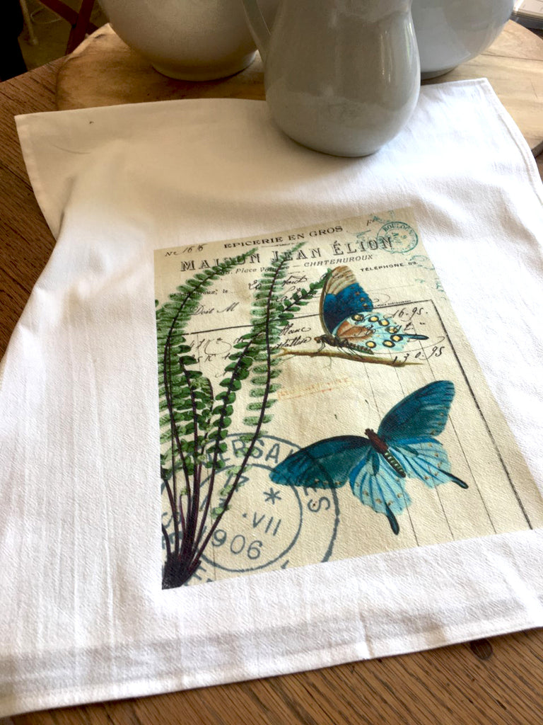 Insect Tea  Towel  Blue  Butterfly - BELLAVINTAGEHOME