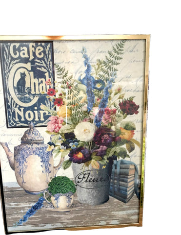 Brass and Glass Easel Frame with Print ( More Options) - BELLAVINTAGEHOME