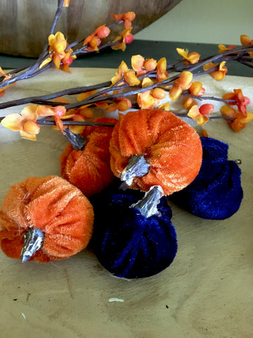 Mini Velvet Pumpkins  set/5 (Multiple Options) - BELLAVINTAGEHOME