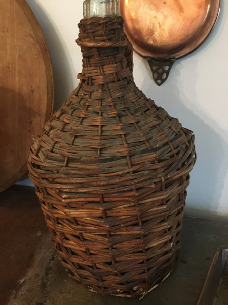Vintage French Wicker Demijohn - BELLAVINTAGEHOME