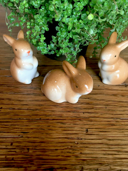 Sweet Brown Bunnies  set/3 - BELLAVINTAGEHOME