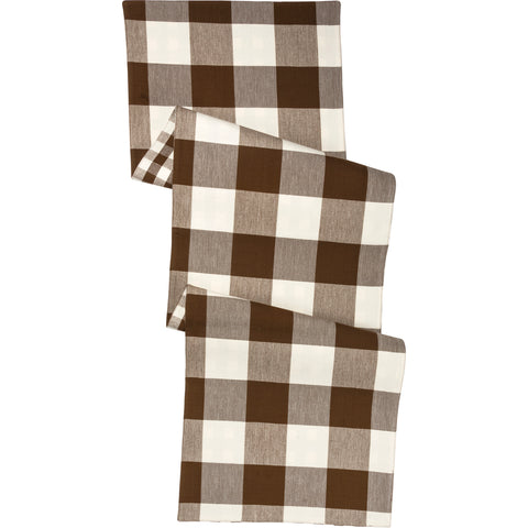 Brown  Buffalo Check Cotton Runner - BELLAVINTAGEHOME