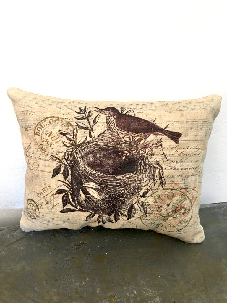 Brown bird with Nest Accent Pillow - BELLAVINTAGEHOME