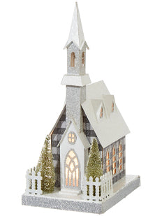 Black and White  Buffalo Check-Lighted Church - BELLAVINTAGEHOME
