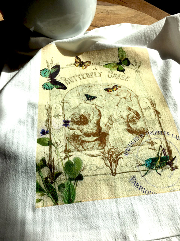 Insect Tea  Towel  Butterfly Chase - BELLAVINTAGEHOME