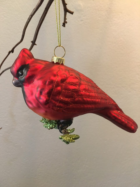 Ornament- Glass Cardinal - BELLAVINTAGEHOME