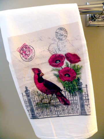 Bird Tea Towel Cardinal