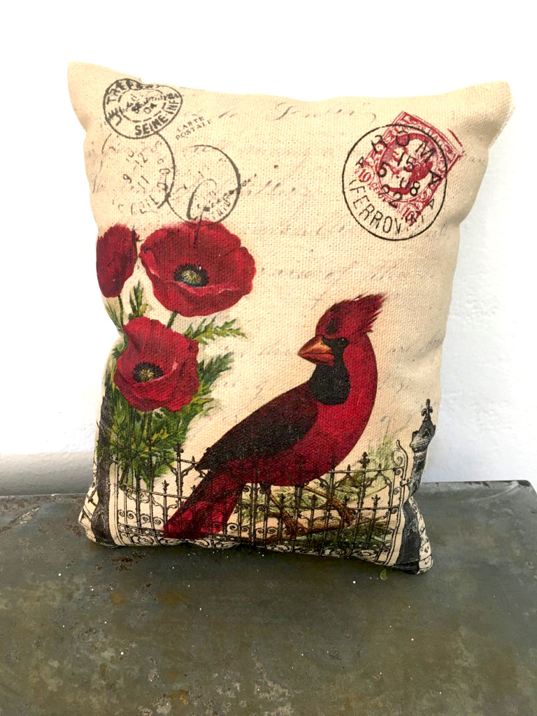 Cardinal Accent Pillow - BELLAVINTAGEHOME