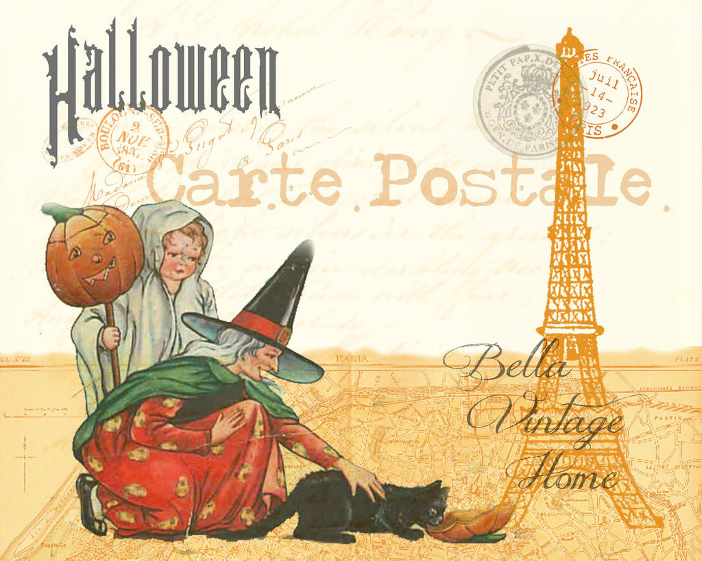 Halloween Witch and Kitty Carte Postale Print,  Pillow, Note Cards, Tea Towel