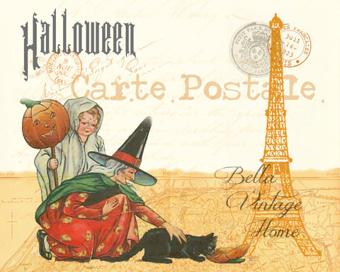 Halloween Witch and Kitty Carte Postale Print,  Pillow, Note Cards, Tea Towel, Digital Download - BELLAVINTAGEHOME