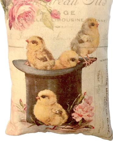 Chicks with Top Hat Accent Pillow - BELLAVINTAGEHOME