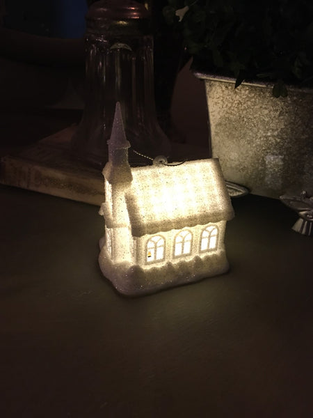 Mini Lighted Church  or Ornament - BELLAVINTAGEHOME