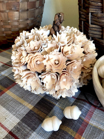 Ivory Wood Flower  Pumpkin - BELLAVINTAGEHOME