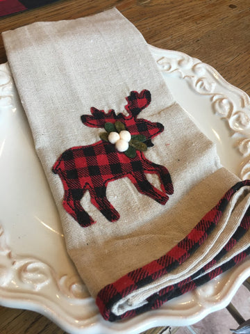 Red Buffalo Check  Reindeer Towel - BELLAVINTAGEHOME