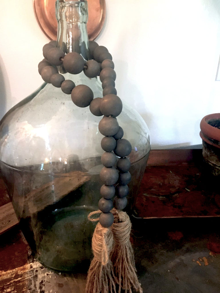 Wooden Bead garland with tassels gray - BELLAVINTAGEHOME