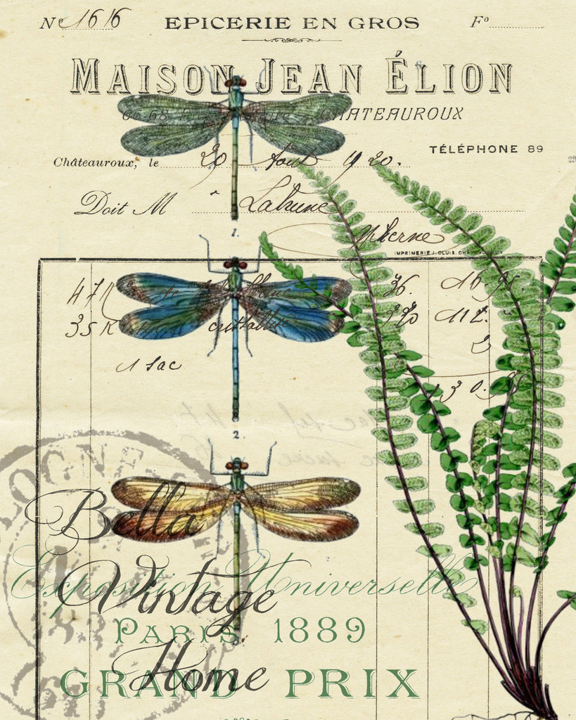 Botanical Blue Dragonflies and Fern Print,  Pillow, Note Cards, Tea Towel