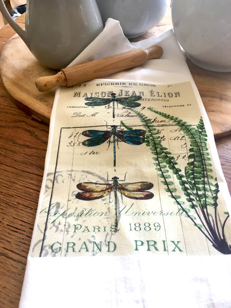 Botanical Blue Dragonflies and Fern Print,  Pillow, Note Cards, Tea Towel, Digital Download - BELLAVINTAGEHOME