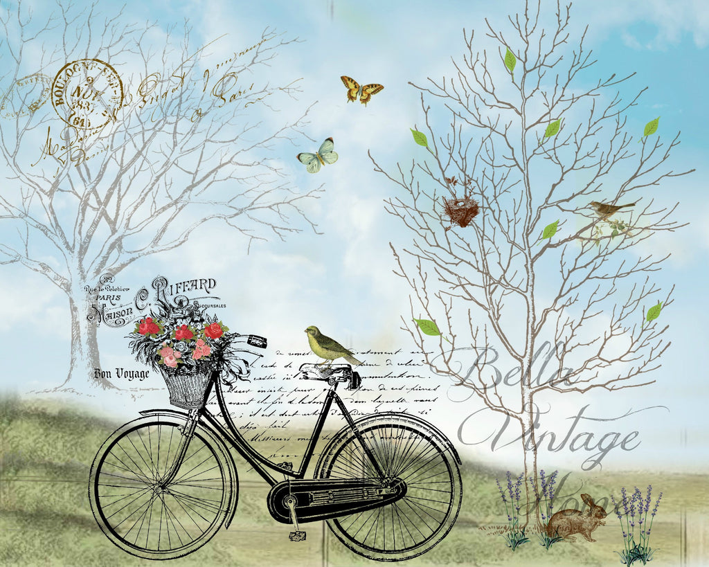 Botanical   French Bicycle Print, Pillow, Note Cards, Tea Towel, Digital Download - BELLAVINTAGEHOME