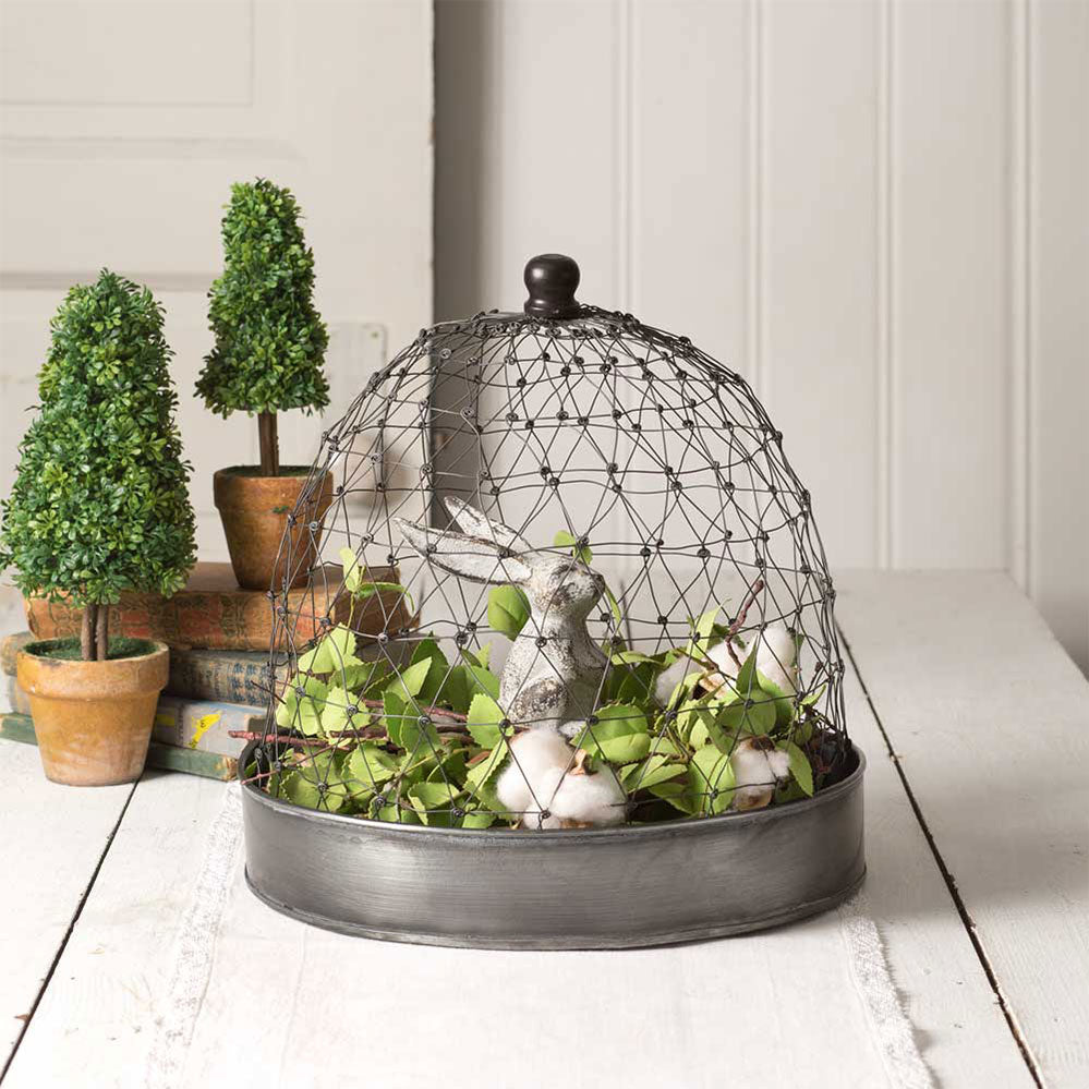 French Wire Cloche with metal tray - BELLAVINTAGEHOME