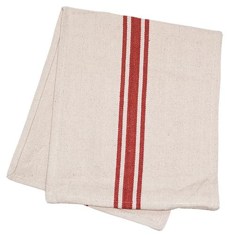 Table Runner Cream and Red Grain Sack - BELLAVINTAGEHOME
