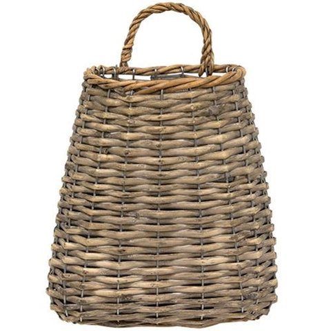 "Willow Greywash  Wall Basket 9"" - BELLAVINTAGEHOME"