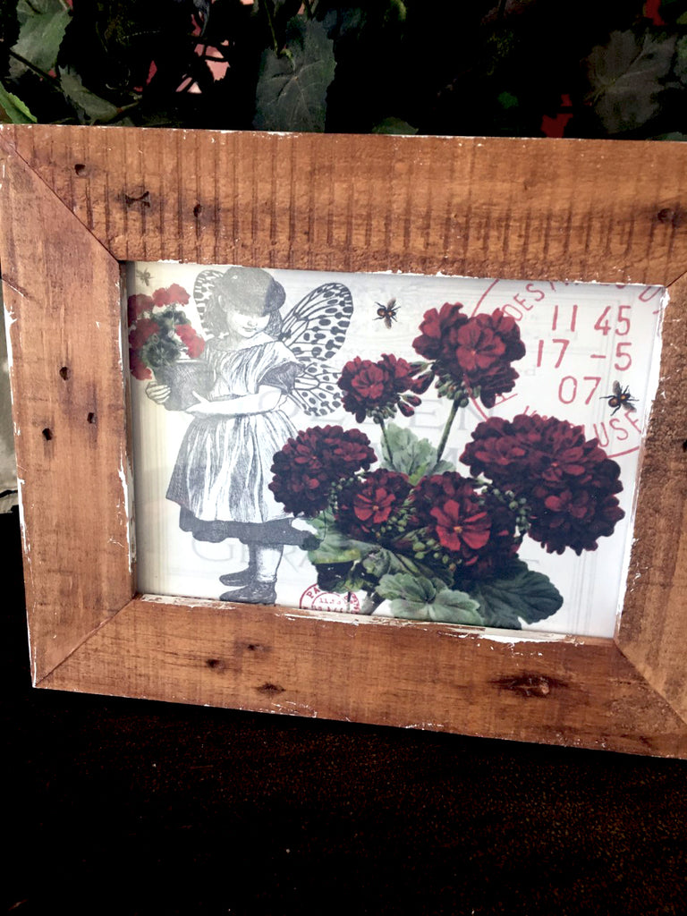 Frame   Reclaimed Wood    with Print - BELLAVINTAGEHOME