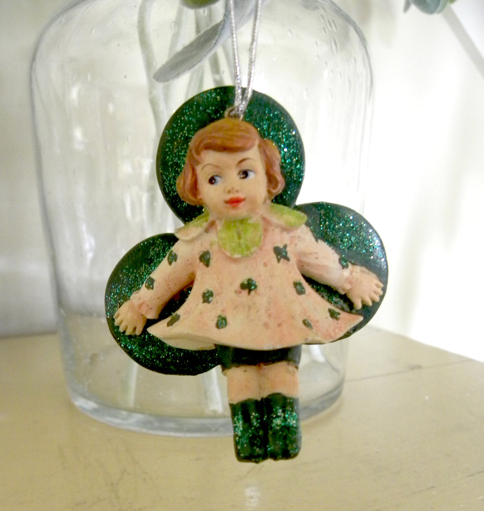 St Patrick's Shamrock Girl Ornament