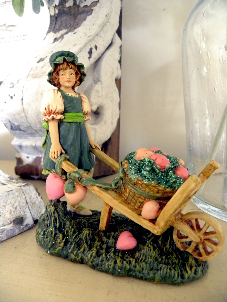 Vintage St Patrick's Girl pushing a Cart of Hearts - BELLAVINTAGEHOME