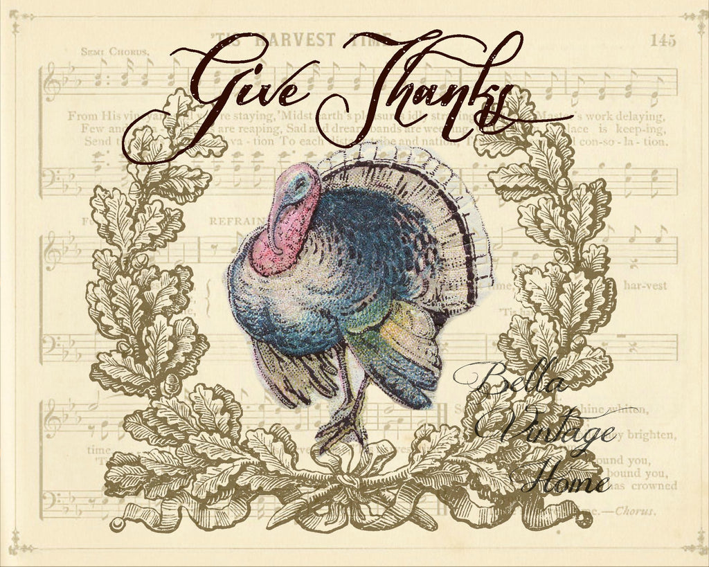 Give Thanks Turkey Print,  Pillow, Note Cards, Tea Towel, Digital Download - BELLAVINTAGEHOME