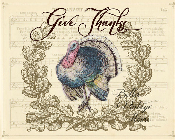 Give Thanks Turkey Print,  Pillow, Note Cards, Tea Towel