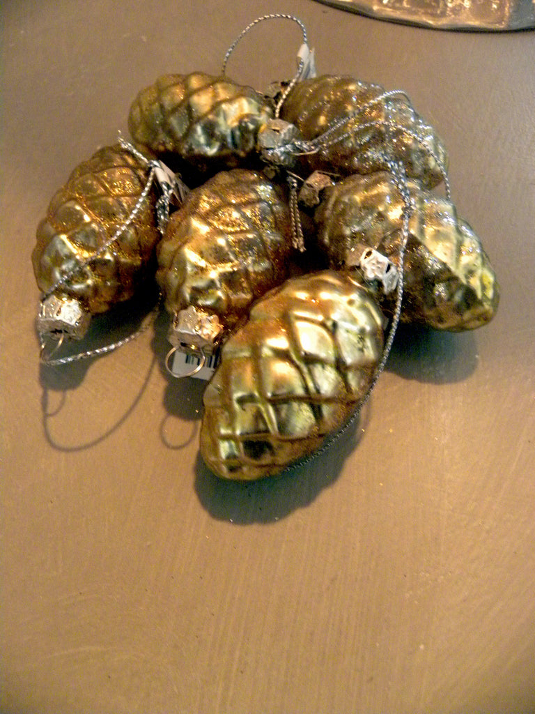 Ornament-Glittered pinecone Set/ 6 - BELLAVINTAGEHOME