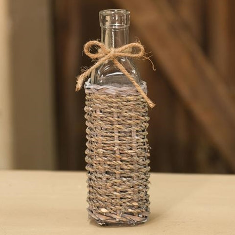 "Grey washed Seagrass long Neck Bottle 8.25"""" - BELLAVINTAGEHOME"
