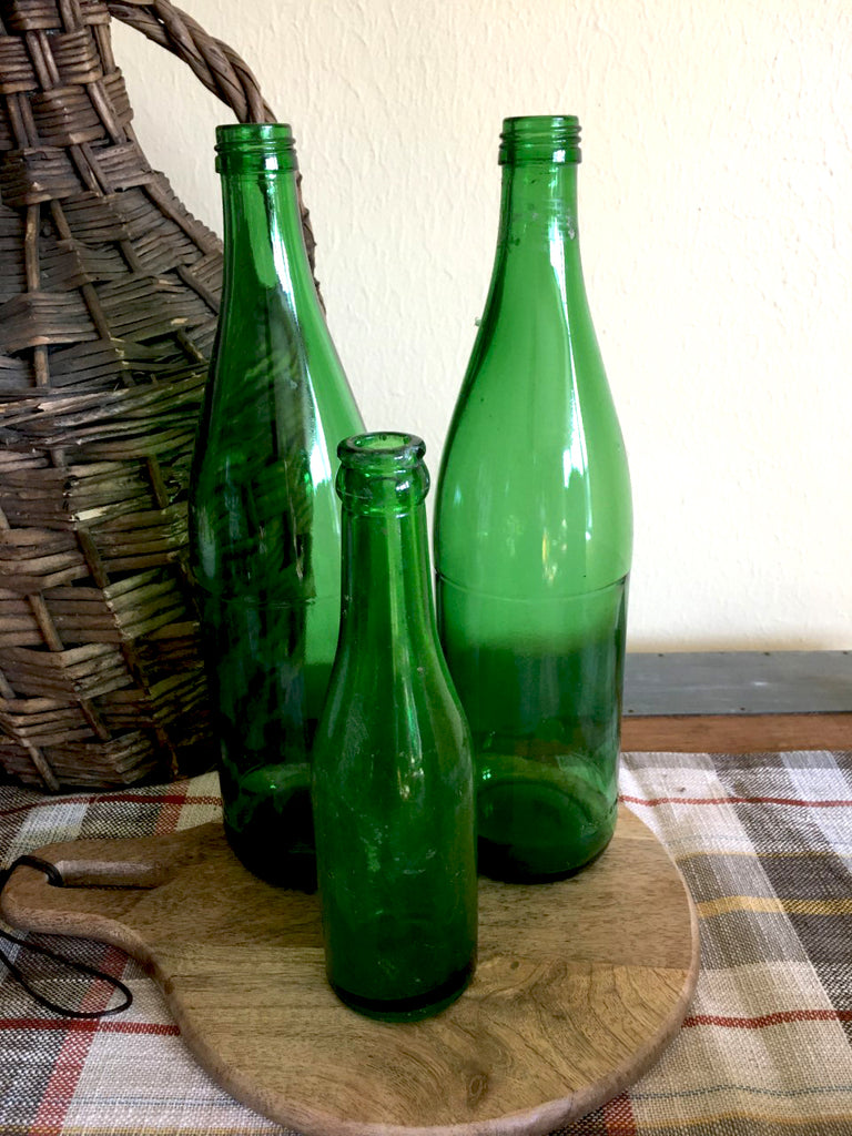 Vintage Green  Glass Bottle Set of 3 - BELLAVINTAGEHOME