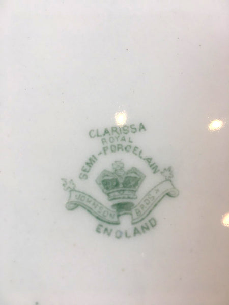 Ironstone Johnson Brothers Green transferware platter - BELLAVINTAGEHOME