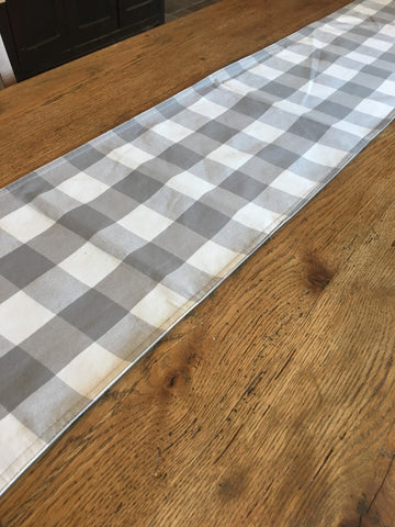 Grey Buffalo Check Table Runner