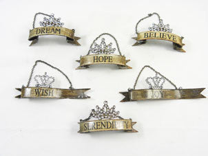 Ornament-Metal Word Banners Set/ 6 - BELLAVINTAGEHOME