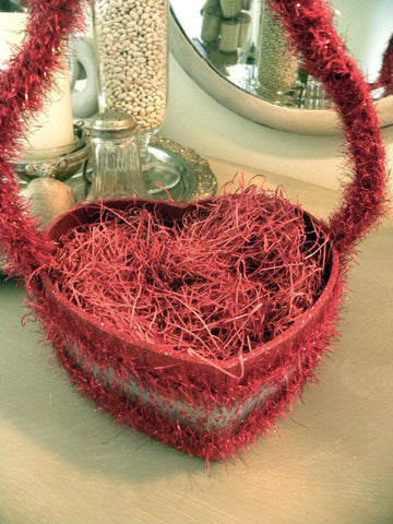 Valentines Glittered Heart Basket