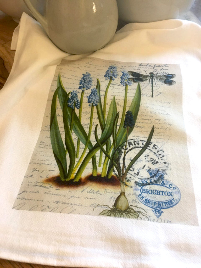 Floral Tea  Towel Grape Hyacinth - BELLAVINTAGEHOME