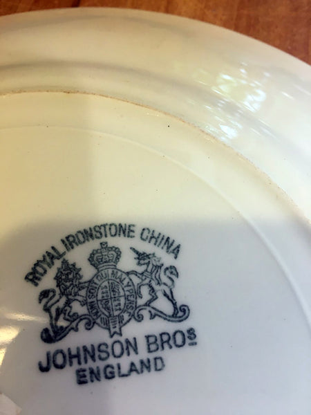 Ironstone Johnson Brothers  Dinner Plate with design - BELLAVINTAGEHOME
