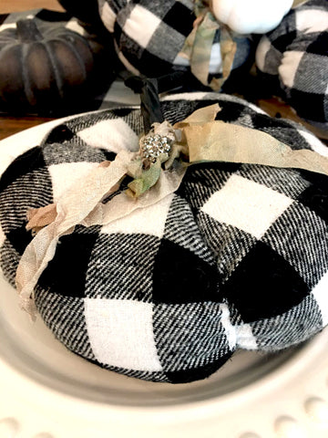 Black Buffalo Check Pumpkin - BELLAVINTAGEHOME
