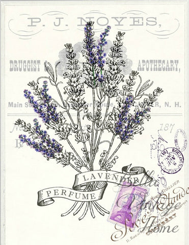 Botanical  Lavender Perfume Print,  Pillow, Note Cards, Tea Towel
