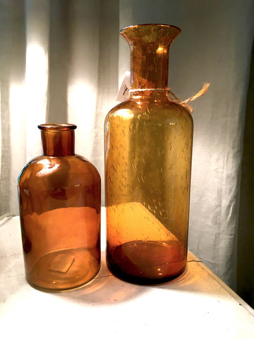 Amber Glass Bottles - BELLAVINTAGEHOME
